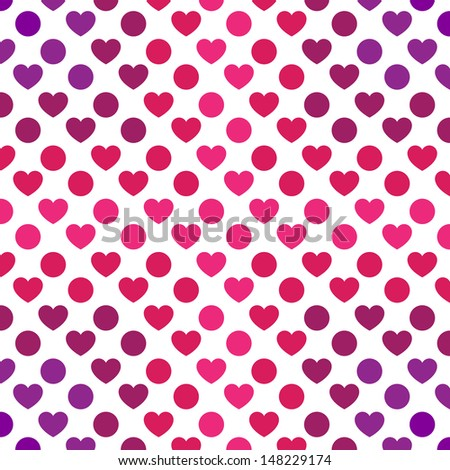 Heart and Dot Pattern - stock vector