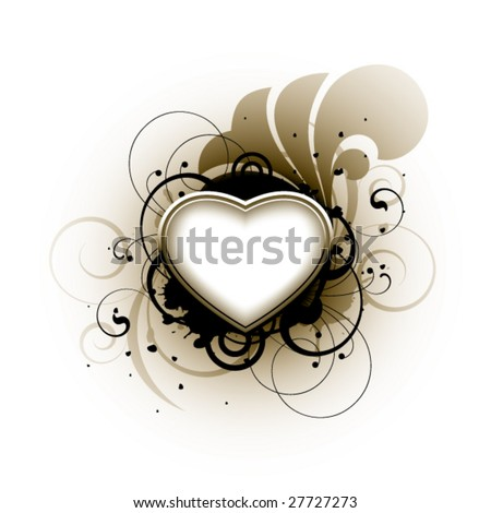 Heart and floral elements on a white background - stock vector