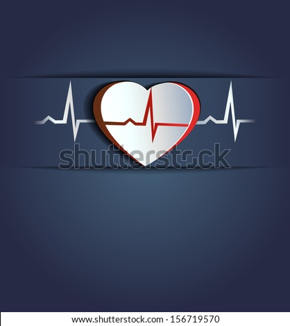 Heart and heart beats. Blue background. Healthy human heart concept.