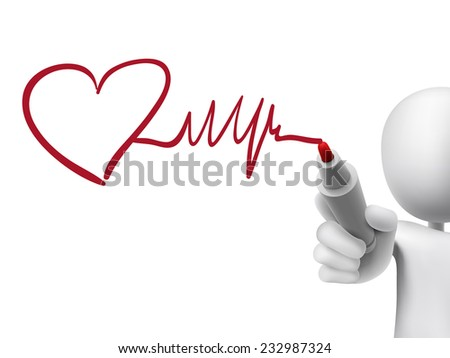 heart and heartbeat symbol drawn by 3d man over transparent board - stock vector