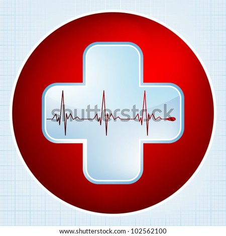 Heart and heartbeat symbol. Easy Editable Template. Without a transparency. EPS 8 vector file included