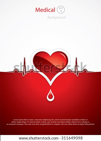 Heart and heartbeat symbol.Medical vector - stock vector