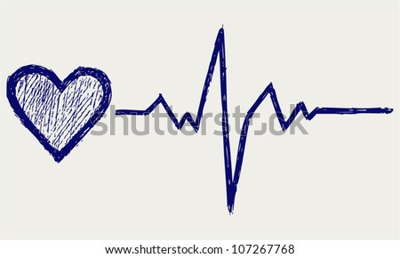 Heart and heartbeat symbol. Sketch - stock vector
