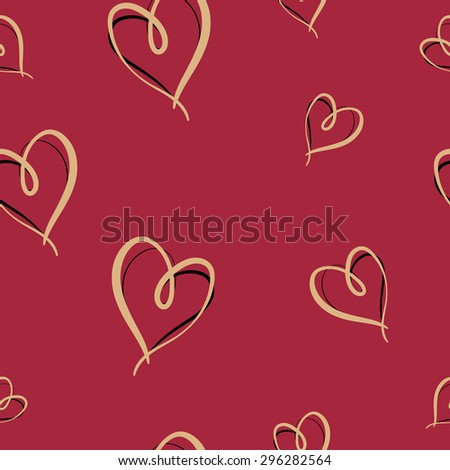 Heart and Love Hand Drawn Sketchy Seamless Pattern - stock vector