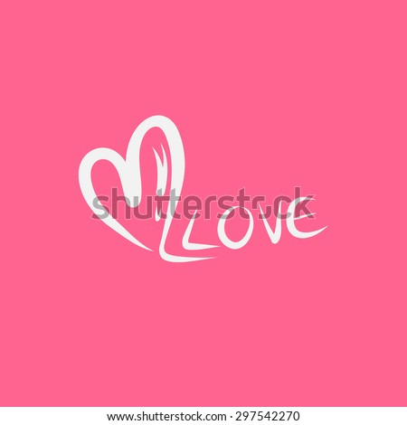 heart and love text, valentine's day - stock vector
