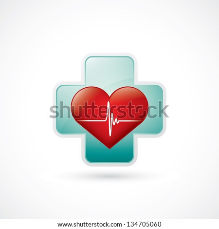 Heart and medical cross with cardiogram - vector illustration - stock vector
