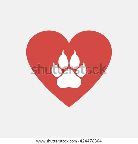 Heart and paw illustration. - stock vector