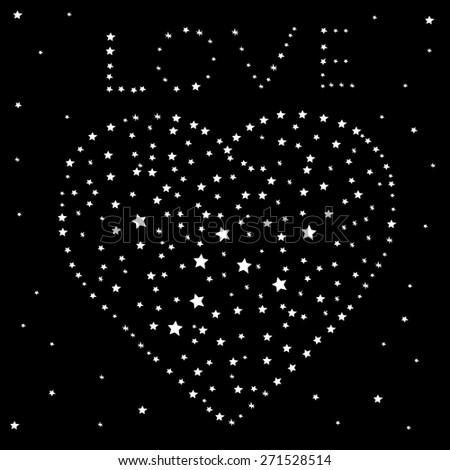 Heart and the word love of the stars on a black night sky, vector - stock vector