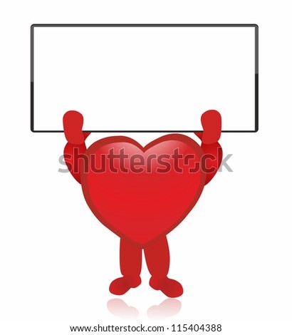 Heart and white board - stock vector