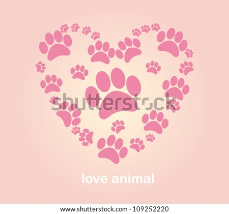 Heart animal's footprints illustration vector - stock vector