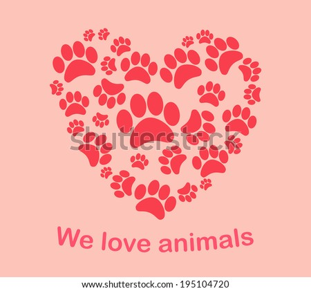 "Heart animal's footprints vector illustration. Print ""we love animals"" - stock vector"