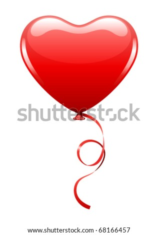 Heart as air balloon with ribbon vector illustration