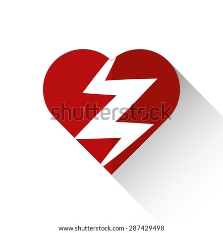 Heart attack icon flat style with long shadow