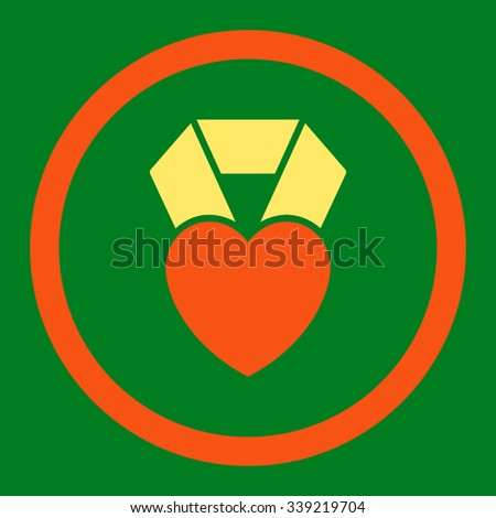 Heart Award vector icon. Style is bicolor flat rounded symbol, orange and yellow colors, rounded angles, green background. - stock vector
