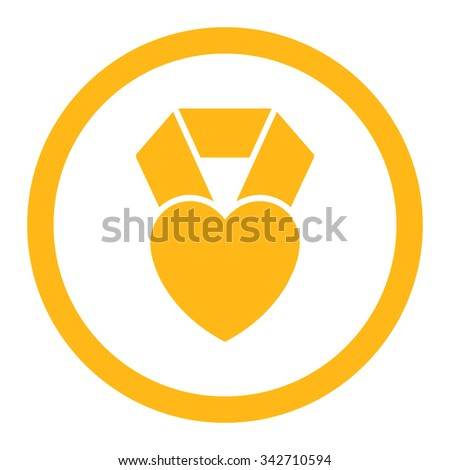 Heart Award vector icon. Style is flat rounded symbol, yellow color, rounded angles, white background. - stock vector