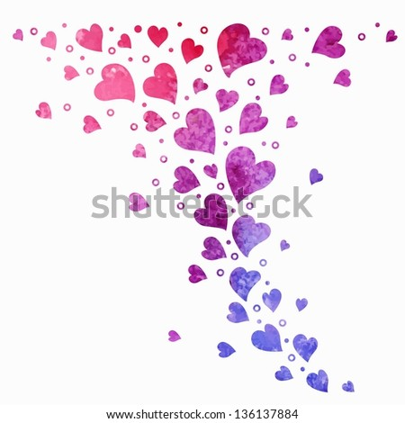 Heart background. Elements for page decoration. Vector watercolor background. - stock vector