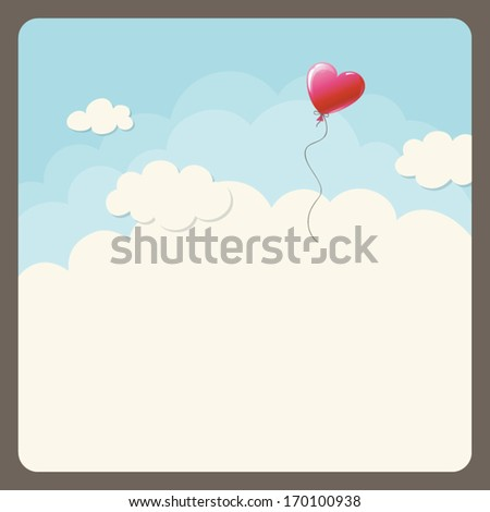 heart balloon in the sky - stock vector