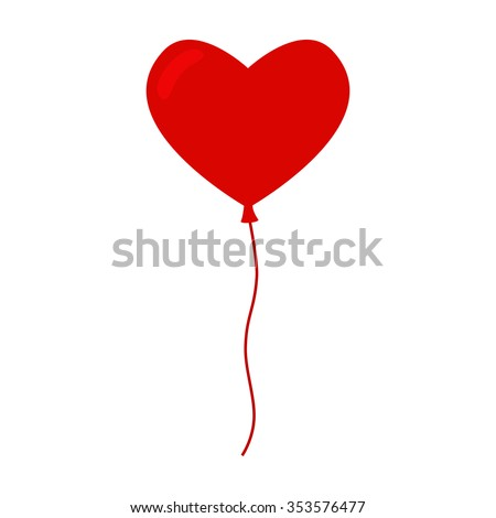Heart balloon isolated icon. Color balloon. Red balloon. Big heart balloon with long ribbon. Balloon icon on white background. Balloon for valentine day and birthday party. Flat vector illustration.
