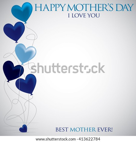 Heart balloon Mother's Day card in vector format. - stock vector