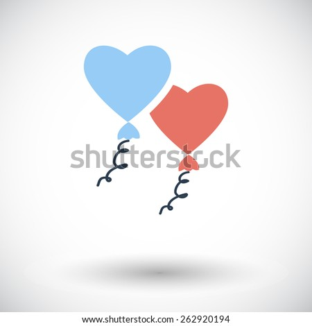 Heart balloon. Single flat icon on white background. Vector illustration. - stock vector