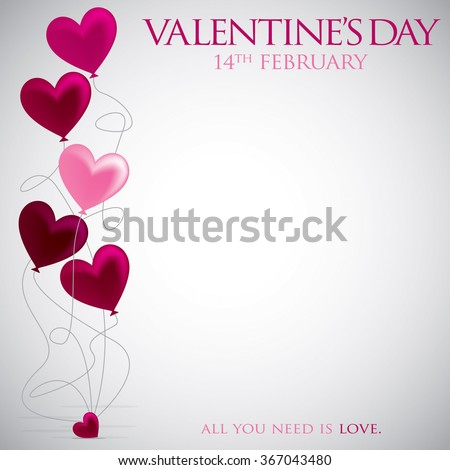 Heart balloon Valentine's Day card in vector format. - stock vector