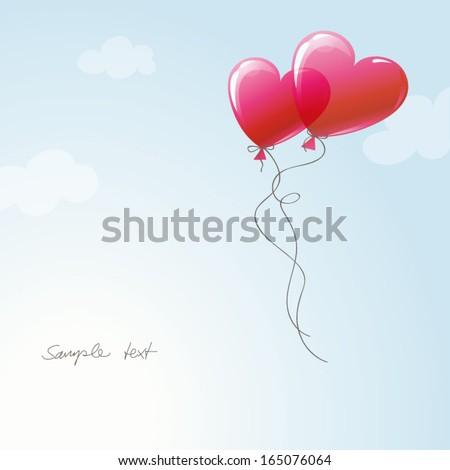 heart balloons in the sky - stock vector
