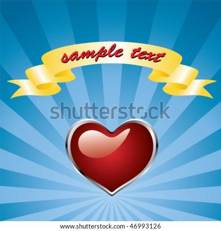 heart banner - stock vector
