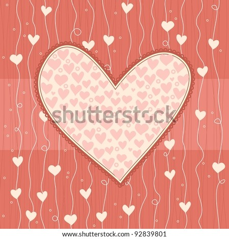 heart banner on love seamless background