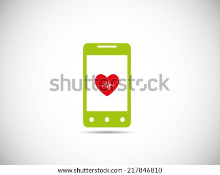 Heart Beat Apps On Smartphone - stock vector