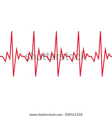 Heart beat cardiogram icon - stock vector