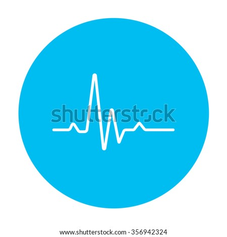 heart beat cardiogram line icon for web, mobile and infographics. Vector white icon on the light blue circle isolated on white background. - stock vector
