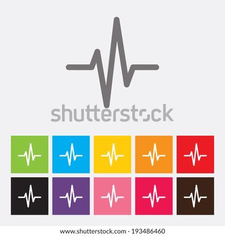 Heart beat, cardiogram,  medical icons set - Vector - stock vector