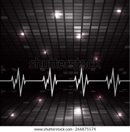 Heart beat, cardiogram. Pulse icon. black background. Mosaic table, pixels - stock vector