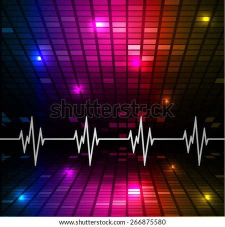 Heart beat, cardiogram. Pulse icon. blue pink yellow background. Mosaic table, pixels
