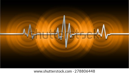 Heart beat, cardiogram. Pulse icon. dark orange background. - stock vector