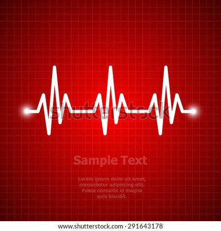 Heart beat, cardiogram. Pulse icon. dark red background - stock vector