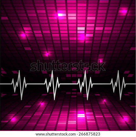 Heart beat, cardiogram. Pulse icon. pink background. Mosaic table, pixels