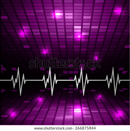 Heart beat, cardiogram. Pulse icon. purple background. Mosaic table, pixels - stock vector