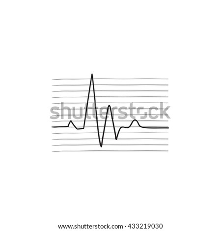 Heart beat cardiogram vector sketch icon isolated on background. Hand drawn Heart beat cardiogram icon. Heart beat cardiogram sketch icon for infographic, website or app. - stock vector