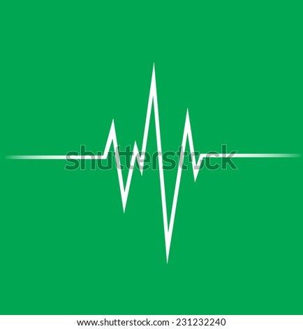 Heart beat, cardiogramm. Pulse icon. green background. - stock vector