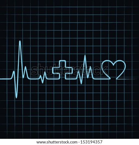 Heart beat make medical and heart symbol background stock vector