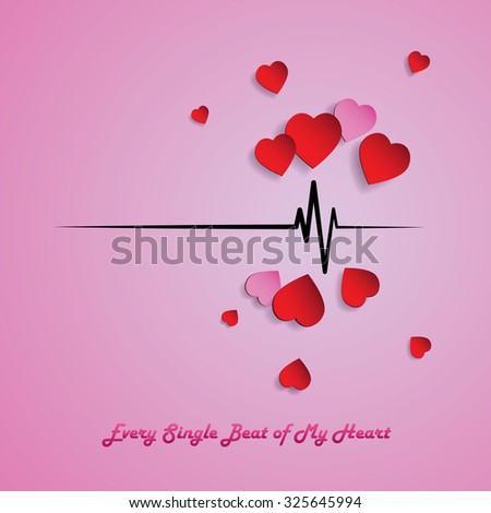 Heart beat pulse with love. paper art hearts in red and pink. - stock vector