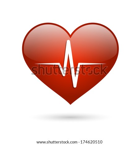 Heart beat rate icon, healthcare and medical concept vector illustration - stock vector