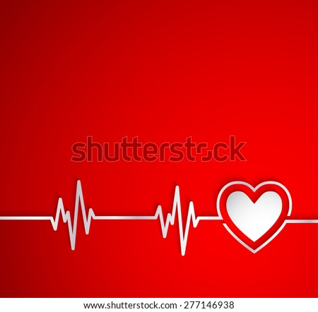 Heart beat with heart shape.Useful as medical background - stock vector
