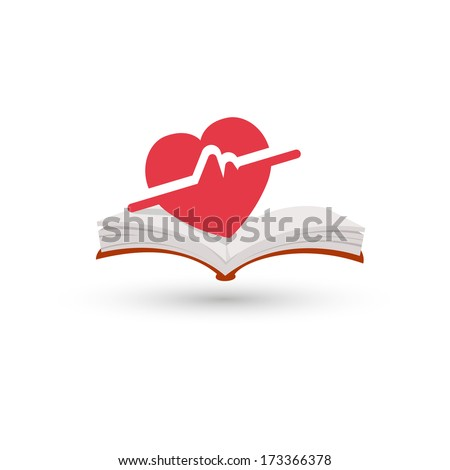 Heart beating book  - stock vector