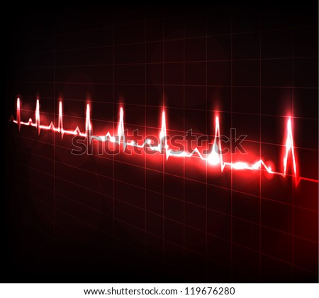 Heart beating monitor. Beautiful abstract design. - stock vector