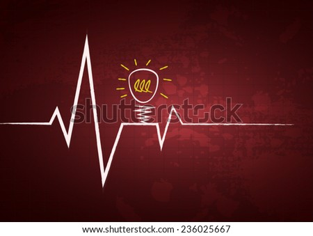 Heart beats cardiogram background with attention light bulb icon poster