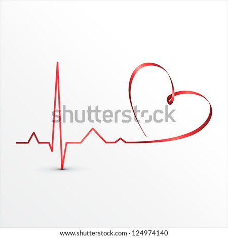 Heart beats cardiogram icon. Medical background - stock vector