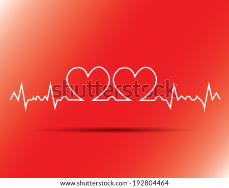 heart beats cardiogram on red background
