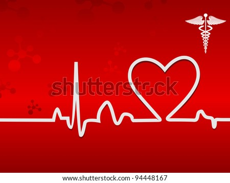 Heart beats in white color on display on a seamless red background for medical purpose. - stock vector